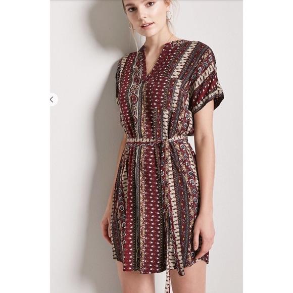 45097acd75c Belted Ornate Print Shift Dress size M